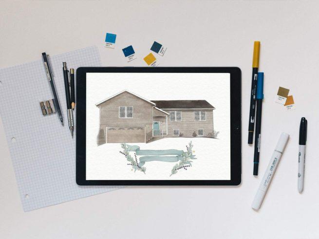 Home Sweet Home Watercolor Illustration // Digital File